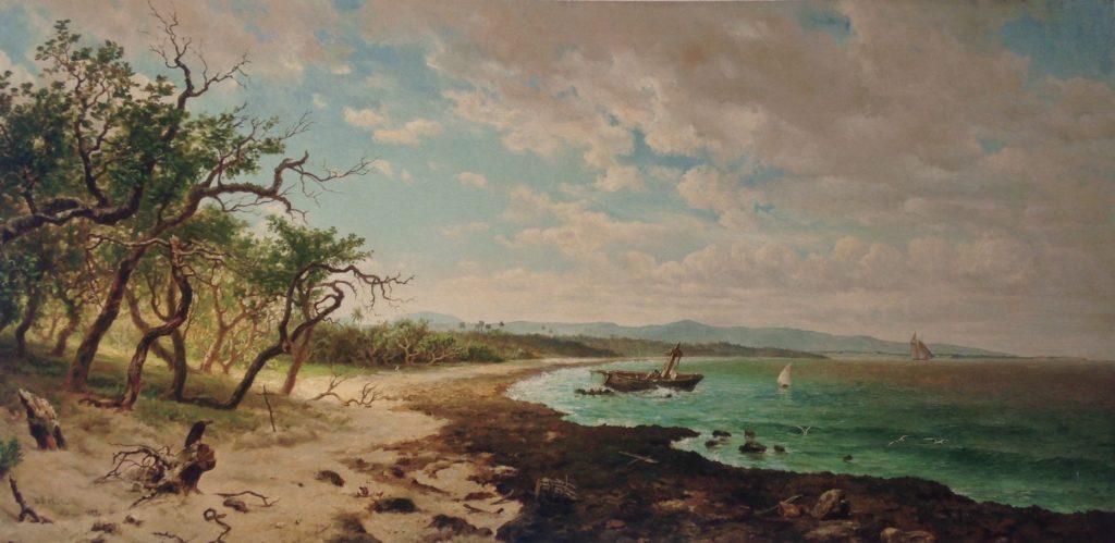 « Paisaje marino » (Paysage maritime)-(64,5x127cm)-1877-Esteban Chartrand (1840-1883)  8ème billet -| L'histoire de Cuba à travers ses artistes tableau 1024x499