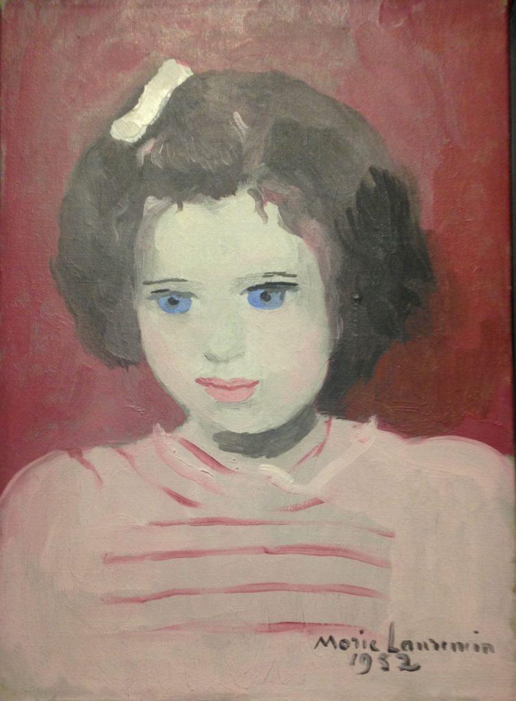 « Anne Sinclair à l'âge de 4 ans »-Marie Laurencin-1952- Huile sur toile (27x22cm)-Collection particulière.  19ème billet du blog FrancescArts | L'exposition « 21 rue la Boétie » au Musée Maillol. 10 754x1024