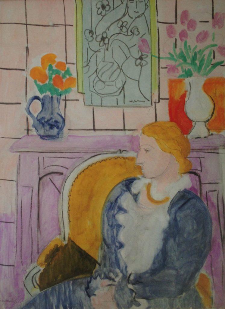 « Profil bleu devant la cheminée » Henri Matisse- 1937-Huile sur toile (88x60cm) Collection particulière  19ème billet du blog FrancescArts | L'exposition « 21 rue la Boétie » au Musée Maillol. 9 747x1024