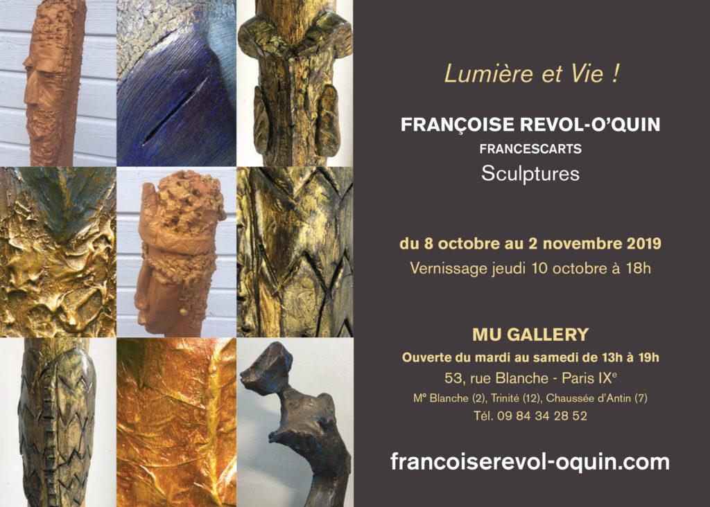 « Lumière et Vie »  Sculptures – Mu Gallery Paris IX – 8 octobre au 2 novembre 2019 def oquin invit 1 1024x732